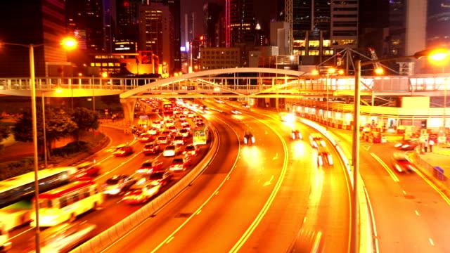 HD:Busy traffic at night in Hongkong.(Timelapse)
