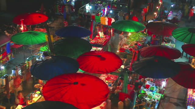 HD:Colorful local night market.