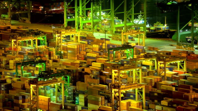 HD:Container yard operation at night.