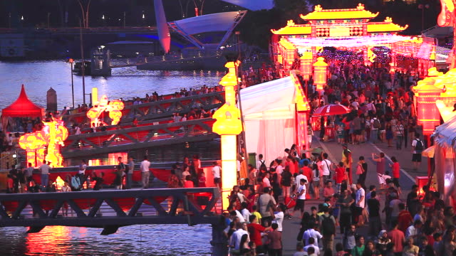HD:Crowd people at Lunar New Year event in Singapore.
