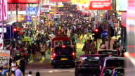 HD:Crowd people walking on the road at night.(Timelapse)