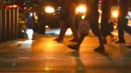 HD:Crowd people walking on the street at night.