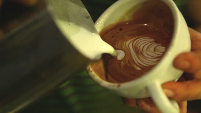 HD:Latte art,Milk pouring by a Barista.