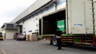 HD:Loading product in the Trucks at warehouse,time lapse