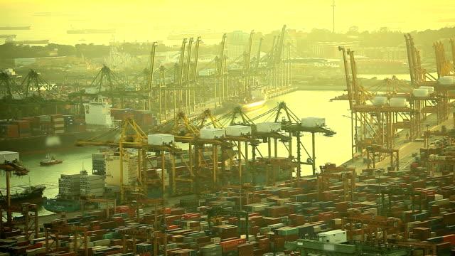 HD:Rush hour in shipyard during sunset.