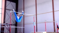 HD:Shot of Male Gymnast Performing Routine on Horizontal Ba