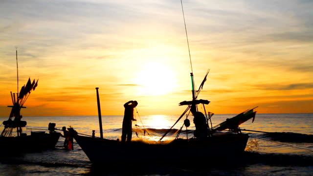 HD:Silhouette scene in the morning for fisherman.