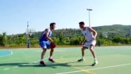 HD:Slo-Mo Video of Basketball Players Performing Jump Shot and Block