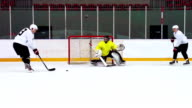 HD:Slow Motion Shot of Ice Hockey Players in Offensive Action