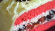 HD:Strawberry cream cake serving and cutting