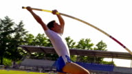 HD:Super Slo-Mo Shot of Young Athlete Performing at Pole Vault