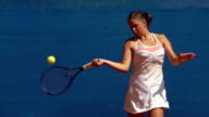 HD:Super Slo-Mo Shot of Young Women Playing Backhand and Forehand