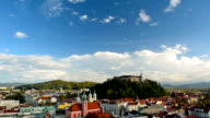 HD:Timelapse of Ljubljana Cityscape Showing Castle and Clouds