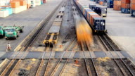 HD:Train transportation in railroad yard.(Timelapse)