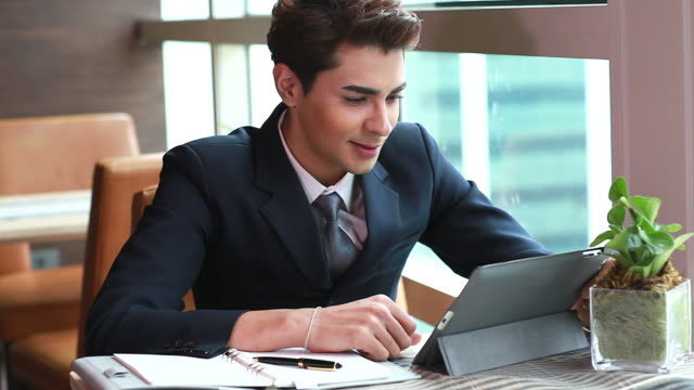 HD:Young businessman meeting by using webcam.