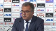 Head coach Ante Cacic of Croatia speaks during a press conference after 2018 FIFA World Cup Qualifying match with Turkey at Maksimir Stadium in...