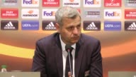 Head coach Bruno Genesio of Olympique Lyonnais speaks during a press conference following the UEFA Europa League quarter final second match between...