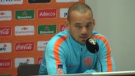 Head coach Danny Blind and player Wesley Sneijder of Netherlands National Team and head coach Janne Andersson of Sweden hold press conferences ahead...