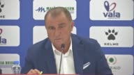 Head coach Fatih Terim of Turkey speaks during a press conference after the FIFA 2018 World Cup Qualifiers Group I match between Kosovo and Turkey at...