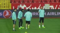 Head coach Fatih Terim of Turkish national soccer team leads a training session ahead of the friendly football match between Turkey and Moldova in...