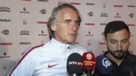 Head coach Jan Olde Riekerink of Galatasaray speaks to the press after the friendly soccer match between Galatasaray and Manchester United at Ullevi...