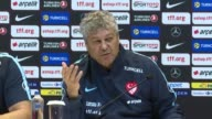 Head coach Mircea Lucescu of Turkish national soccer team holds a press conference ahead of the 2018 FIFA World Cup qualification matches against...