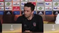 Head Coach of Besiktas Senol Gunes and his footballer Gokhan Gonul hold a press conference ahead of the UEFA Europa League Quarterfinal football...