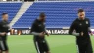 Head Coach of Besiktas Senol Gunes leads a training session ahead of the UEFA Europa League QuarterFinal football match between Olympique Lyonnais...