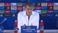 Head coach of Besiktas Senol Gunes makes a speech during a press conference following the UEFA Champions League Group G soccer match between Porto...