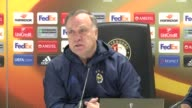 Head Coach of Fenerbahce Dick Advocaat and player Jermain Lens hold a press conference ahead of the UEFA Europa League Group A match between...