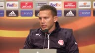 Head Coach of Hapoel BeerSheva Barak Bakhar and footballer Ben Sahar attend a press conference ahead of the UEFA Europa League football match between...