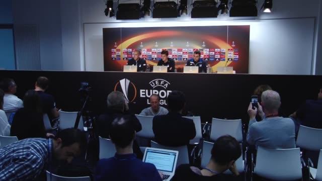 Head Coach of Hoffenheim Julian Nagelsmann and footballer Steven Zuber attend a press conference ahead of UEFA Europa League Group C soccer match...