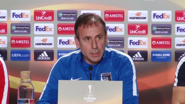 Head Coach of Medipol Basaksehir Abdullah Avci and footballer Gokhan Inler attend a joint press conference ahead of UEFA Europa League Group C soccer...