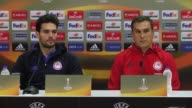 Head coach of Olympiacos Vasilis Vouzas attends a press conference prior to the UEFA Europa League round of 16 match between Olympiacos and Besiktas...