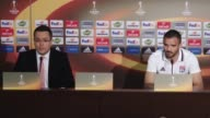 Head Coach of Olympique Lyon Bruno Genesio and his footballer Jeremy Morel hold a press conference ahead of the UEFA Europa League Quarterfinal...