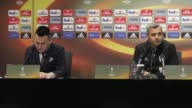 Head Coach of Olympique Lyon Bruno Genesio and his footballer Maxime Gonalons hold a press conference at Besiktas Vodafone Arena ahead of the UEFA...