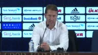 Head coach of Sturm Graz Franco Foda makes a speech during a press conference following the UEFA Europa League third qualifying round 2nd leg match...