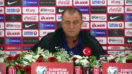 Head coach of Turkey National Team Fatih Terim attends a press conference prior to UEFA 2018 World Cup Qualifying match between Turkey and Ukraine in...