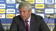 Head coach of Turkish national team Mircea Lucescu speaks during a press conference following the 2018 FIFA World Cup Group I qualifying match...
