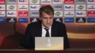Head coach Senol Gunes of Besiktas speaks during a press conference after the UEFA Europa League first leg quarter final soccer match between...