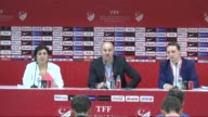 Head coach Stanislav Cherchesov holds a press conference after the friendly match between the national soccer teams of Turkey and Russia at Antalya...