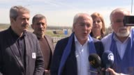 Head of Democrats for Responsibility Freedom and Tolerance Party Lyutvi Mestan makes a statement to the press members near the TurkishBulgarian...