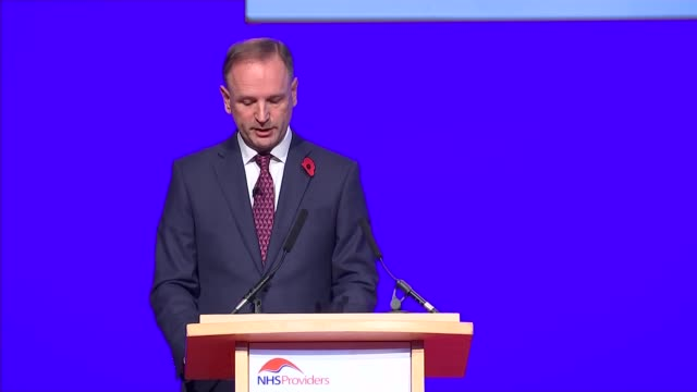 Head of NHS calls for money promised by Brexit campaign West Midlands Birmingham Jeremy Hunt along on stage Simon Stevens cutaways and speech SOT on...