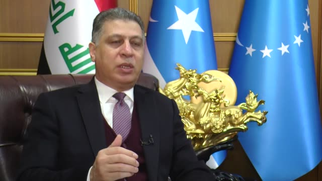 Head of the Iraqi Turkmen Front Arshad alSalihi speask to journalist about safe zone plane of US President Donald Trump in Baghdad Iraq on January 28...