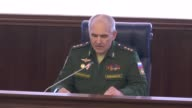 Head of the Russian General Staff's Main Operations Department Colonel General Sergei Rudskoi speaks during a press briefing at the Russian Defense...