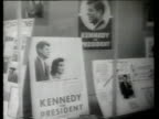 JFK headquarters exterior / posters billboards and signs promoting Senator John F Kennedy / signs billboards and posters promoting Senator Hubert H...