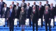 NATO heads of states attend the unveiling ceremony of the 9/11 and Article 5 and Berlin Wall Memorials during the NATO leaders' summit at NATO...