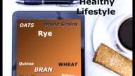 Health word cloud on digital tablet screen.