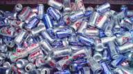 CU Heap of drink cans, Santa Barbara, California, USA
