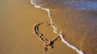 SLOW MOTION: Heart in Sand washed away